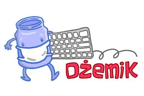 logo konkursu dżemik: robocik w kształcie słoika w maseczce niosący klawiaturę komputerową, w prawym dolnym rogu wyróżniony czerwonym kolorem napis DŻEMIK