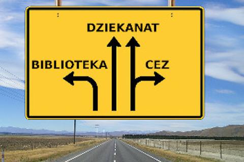 Żółty znak drogowy z napisami: Biblioteka, dziakanat, CEZ