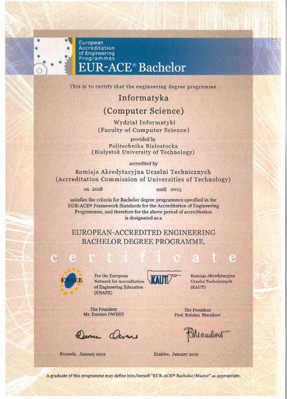 Zdjęcie Certyfikatu Komisji Akredytacyjnej Uczelni Technicznych