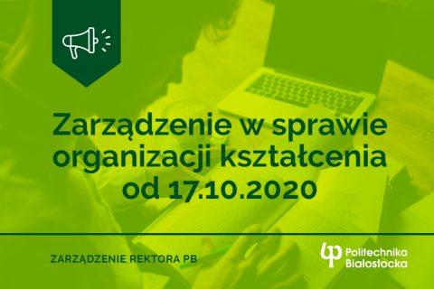 Zarządzenie w sprawie organizacji kształcenia od 17.102020