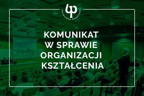 Grafika ilustracyjna na tle przekształconego zielonym filtrem zdjęcia auli wypełnionej publicznością napis Komunikat w sprawie organizacji kształcenia